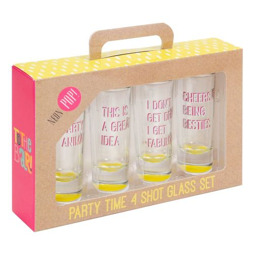 Party Friends Shot Glass Set - Set Of 4 Neon Pop Shot Glasses Gift Set